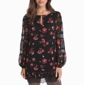 White House Black Market WHBM Rose Lace Tunic